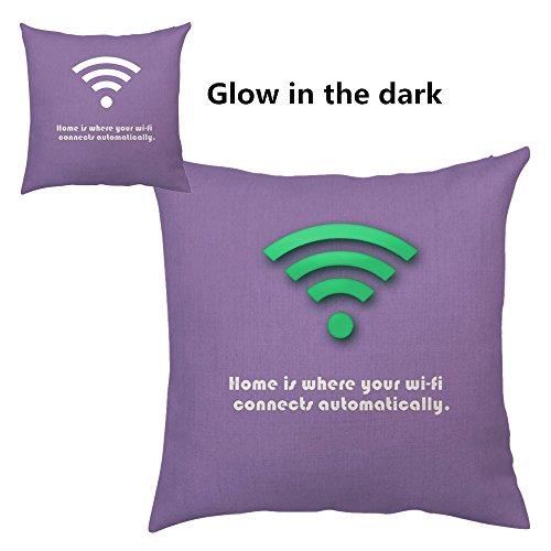 Vintage Quotes Cool Cotton Linen Luminous Throw Pillows Case Sofa Car Waist Cushion Cover Home Decor (Purple wifi)