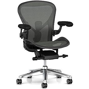 Herman Miller Aeron Task Chair: Tilt Limiter/Seat Angle - PostureFit SL - Fully Adj Arms - Black Vinyl Armpad - Carpet Caster