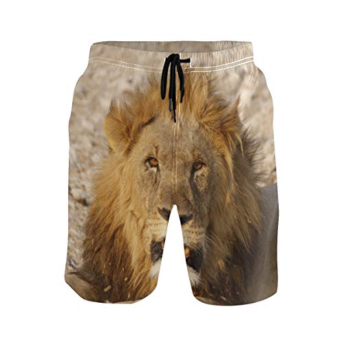 Lion Africa Animal Swim Trunks Short for Men Boys Beach Pants with ()