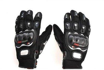 Probiker Leather Motorcycle Gloves (Black, M)