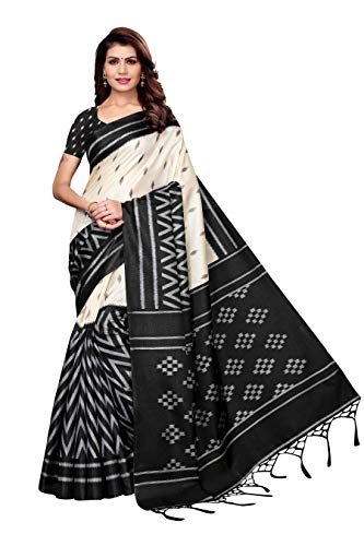 ANNI Designer Women's Kalamkari Silk Printed Saree Border Tassels With Blouse Piece…