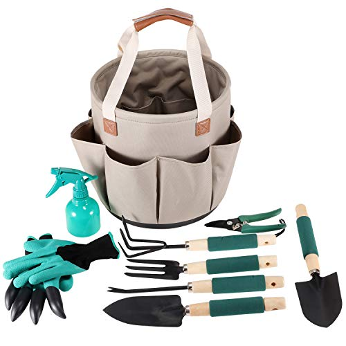 Garden Tools Set | Gardening Gifts | Gardening Tools Set | 9 Piece Garden Tool Set | Digging Claw Gardening Gloves Succulent Tool Set | Planting Tools | Gardening Supplies Basket | Rake Gloves (Her Gift For Sets Gardening)
