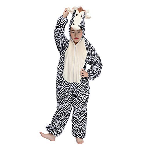 Kid Zebra Costume Fun Animal Pajamas Mascot Child Cosplay Party Fancy Dress Jumpsuit (Zebra, M) -