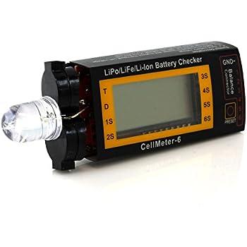 Tenergy Compact Cell Meter - LiPo Alarm and Digital Battery Checker for LiPo LiFePO4 Li-ion NiMH NiCd Battery Packs