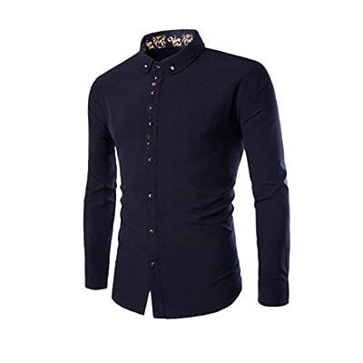Big Promotion! Teresamoon Men's Slim Long Sleeve Shirt Local Print Casual Shirt Blouse Top