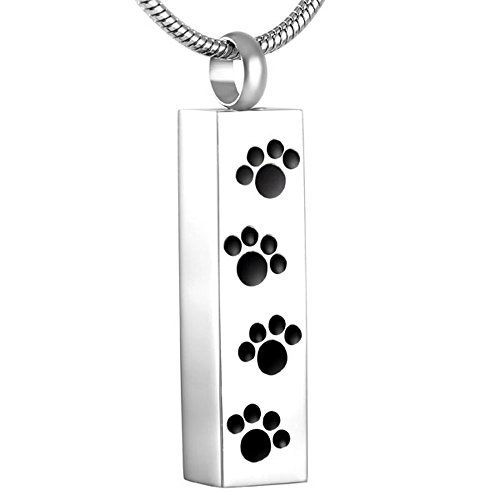 constantlife Pet Paw Engraved Dog Cat Memorial Jewelry Stainless Steel Waterproof Urn Pendant Necklace for Ashes Bar