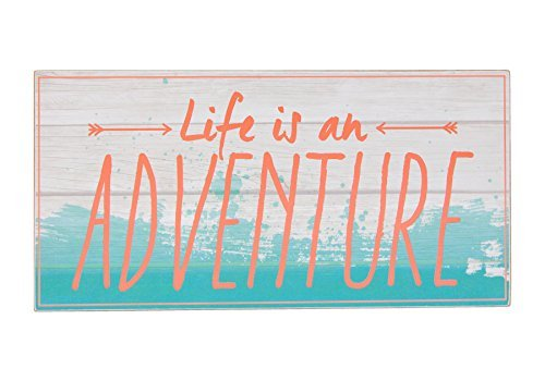 Life is an Adventure Coral Blue Pallet 8 x 16 Inch Wood Hanging Wall Plaque Sign