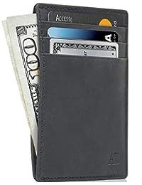 Slim Minimalist Wallets For Men & Women - Leather Front Pocket RFID Wallet Card Holder