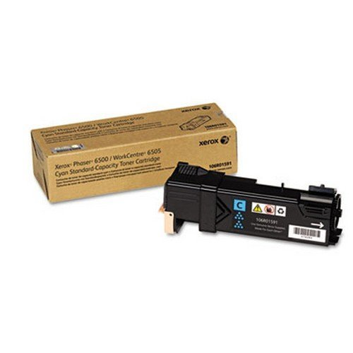 Genuine Xerox Standard Capacity Cyan Toner Cartridge for use with the Xerox WorkCentre 6505/Phaser 6500- Part# 106R01591 (Standard Capacity Cyan Cartridge)