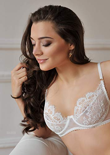Amazon.com  Erotic balconette white bra ⇼ Sheer lace soft cup luxury bra ⇼  100% handcrafted bra ⇼ ruches bra ⇼ no push up white bra  Handmade 6336ab028