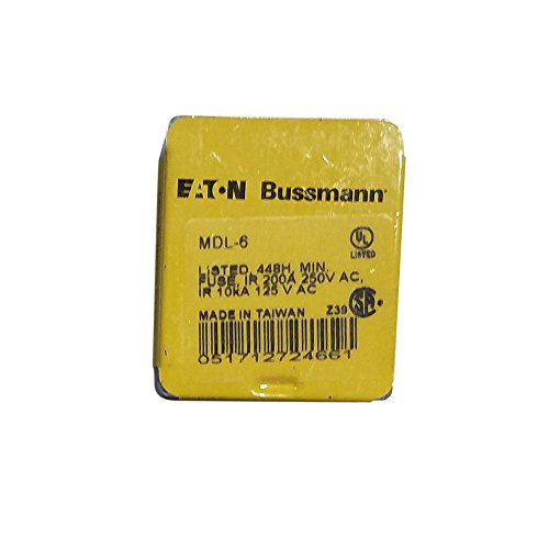 Bussmann MDL-6 6 Amp Time Delay Glass Tube Fuse 250Vac, Ul Listed 5-In Tin (5-Pack),