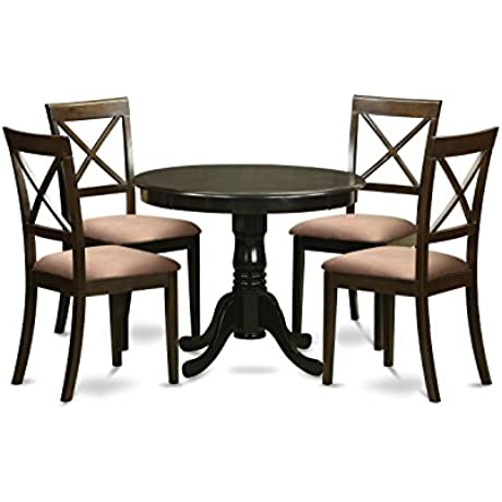 East West Furniture HLBO5 CAP C 5 Piece Kitchen Table And Chairs Set Cappuccino Finish