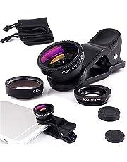 VICHFA Phone Lens Kit, 3 in 1 Cell Phone Lens Clip On 180 Degree Fish Eye Lens+0.6X Wide Angle+10X Macro Lens,Universal HD Camera Lens Kit for Mobile Phone,Cellphone,Smart Phone
