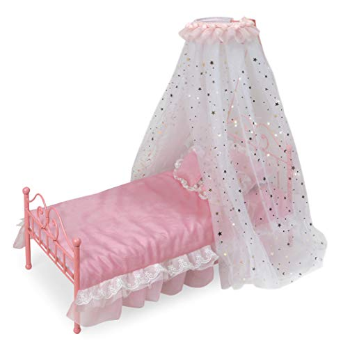 Badger Basket Starlights LED Lighted Canopy Metal Doll Bed with Bedding (fits American Girl Dolls) (18 Inch Doll Canopy Bed)