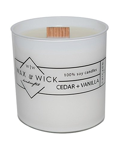 Burn Scented Candle (Scented Soy Candle: 100% Pure Soy Wax with Wood Double Wick | Burns Cleanly up to 60 Hrs | Cedar + Vanilla Scent with Notes of Cedarwood and Vanilla. | 12 oz. White Jar by Wax and Wick)