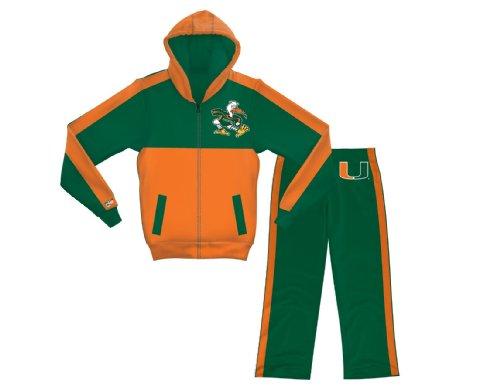 Peak Season Boy's Miami Hurricanes 2-Piece Athletic Set, Green/Orange, Large/10