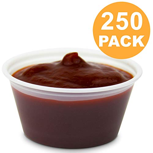 [250 Pack] 2 oz BPA Free Plastic Portion Cup - Disposable Jello Shots Sauce Condiment Souffle Dressing Mini Containers, Medicine Cups No Lids