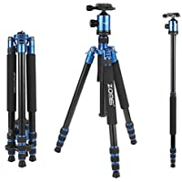 Zomei 66.3 inch Flexible Lightweight Portable Tripod Stand for Canon, Sony, Nikon, Samsung, Panasonic, Olympus, Kodak, Fuji, Cameras and Camcorders with Bag(Blue)