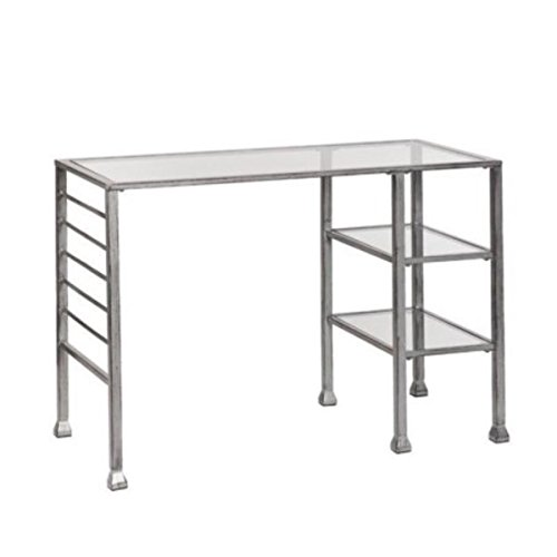 Southern Enterprises Metal & Glass Writing Desk in Distressed Silver by Southern Enterprises