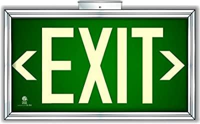 Photoluminescent Exit Sign Green Framed Flag/Ceiling Mount (Includes Removable Arrows)