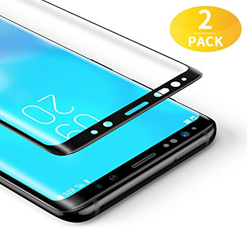 BANNIO 3D Verre Trempé Complet pour Samsung Galaxy S8, [2 Pièces]HD Film Protection Écran en Couverture Intégrale pour Samsung Galaxy S8 - Anti Rayures, Installation Facile - Assurance Qualité (Noir)