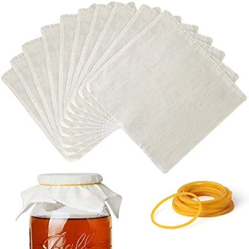 AIEVE Kombucha Cloth Covers Home Brewing Accessories 10 PACK Kombucha Covers with 20 Pack Rubber Band Fit for 1 Gallon Kombucha Jar and Variety Of Wide Mouth Jar Openings