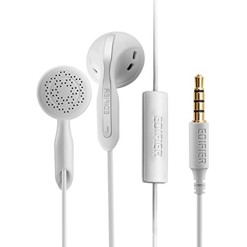 Edifier P180 Earphones in-Ear Earbuds Hi-Fi Stereo Headphones with Microphone and Volume Control for iPhone iPad iPod Samsung Galaxy and More Android Smartphones 3.5 mm Headphone Earpods White