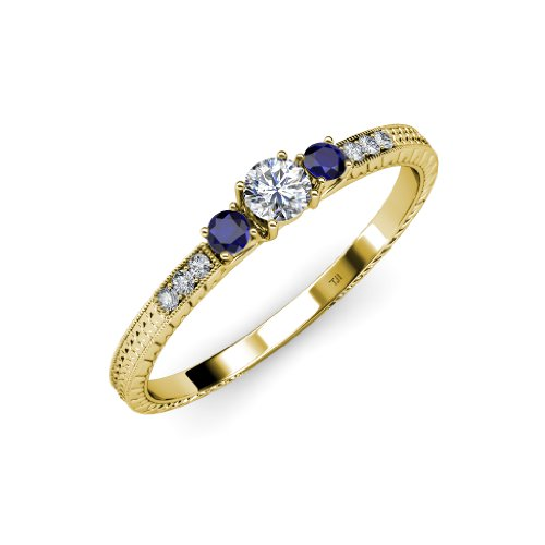 Diamond and Blue Sapphire Three Stone Ring with Diamond on Side Bar 0.42 ct tw in 14K Gold