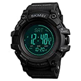 AOSLSI Watch Compass, Altimeter Barometer Thermometer Temperature, Pedometer Watch, Watch Compass, Altimeter Barometer Thermometer Temperature, Pedometer WArmy Waterproof Outdoors Sport Digital Watch for Men, Black