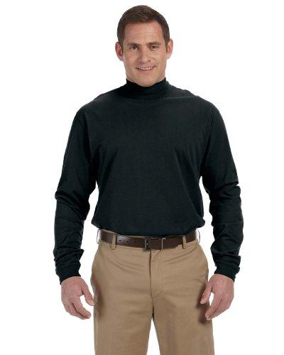 Unisex Sueded Cotton Jersey Mock Turtleneck Shirt, Color: Black, Size: X-Large