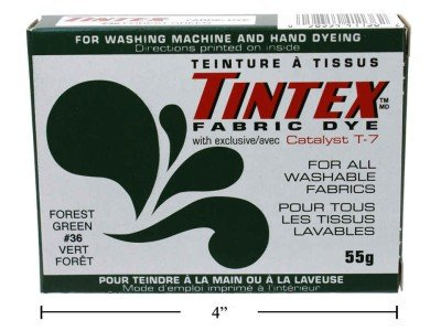 (LOT OF 1 TINTEX BRAND FOREST GREEN FABRIC DYE #36 NEW)