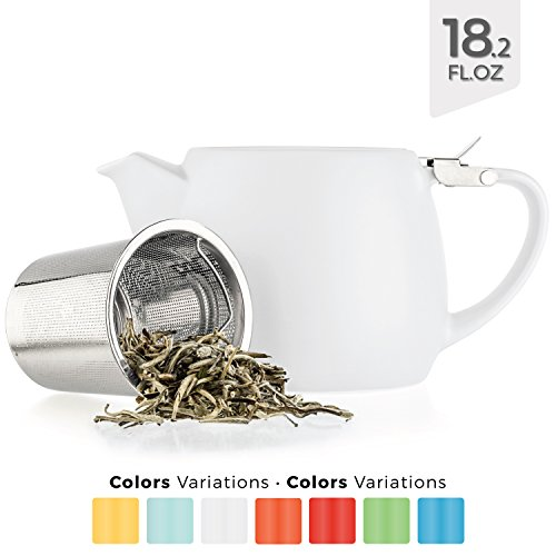 Medium Ceramic Pitcher - Tealyra - Pluto Porcelain Small Teapot White - 18.2-ounce (1-2 cups) - Stainless Steel Lid and Extra-Fine Infuser To Brew Loose Leaf Tea - Ceramic Tea Brewer - 540ml