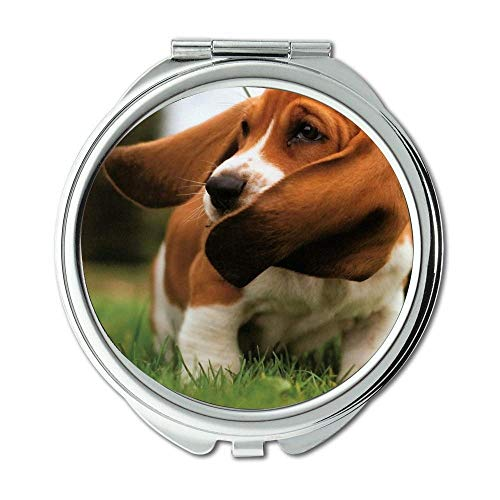 Mirror,Small Mirror,English Bulldog basset hound,pocket mirror,1 X 2X Magnifying