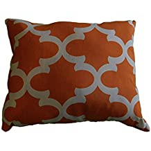 """Apache orange fynn PILLOW Size 14""""x 17"""", throw pillow, neck or travel , bed , sofa, dorm , chair decor. Hypoallergenic , Moroccan, trellis, washable. Ready to use. Sale."""