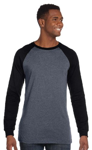 - Canvas - Hawthorne Long Sleeve Baseball T-Shirt, Deep Heather/Black, X-Large