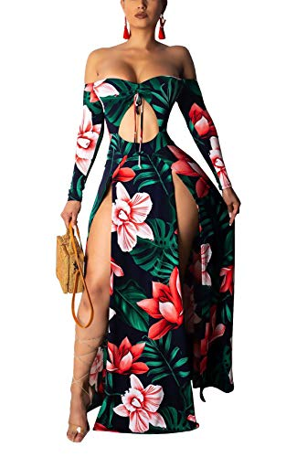 Women's Bodycon Off Shoulder Dress - Sexy Long Sleeve Floral Drawstring Ruched Cutout High Split Long Maxi Dress Dark Blue X-Large ()