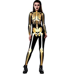 ZHONGJI Halloween Jumpsuit Human Skull Skeleton Bone Bodysuit 3D Print Funny Skinny Stretch Costume