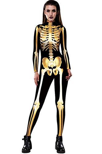 ZHONGJI Halloween Jumpsuit Human Skull Skeleton Bone Bodysuit 3D Print Funny Skinny Stretch Costume (Medium, Gold) -