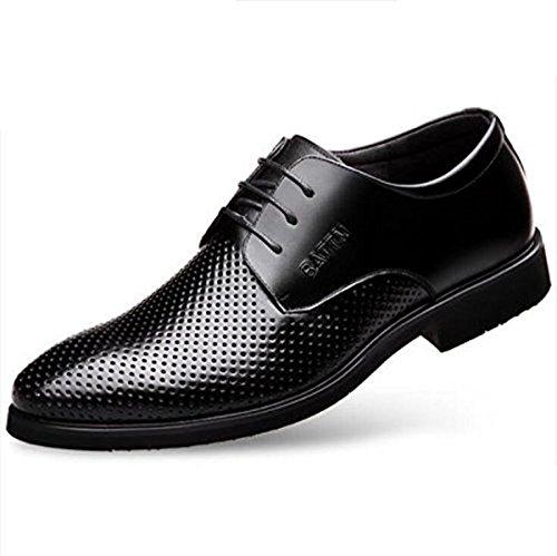 Koyi Openwork Breathable Lederschuhe Männer Sommerkleid Sandalen Business Casual Schnürschuhe Black2
