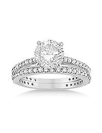 Eternity Diamond Engagement Ring and Band Set Palladium (1.10ct)