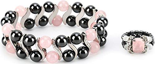 Quartz Elegant Ring - Elegant Womens Hematite Magnetic Therapy & Healing Stone Bracelet & Ring Set Pain Relief for Arthritis and Carpal Tunnel (Rose Quartz)