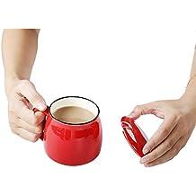 Coffee Cup Ceramic Travel Mug with Lid, 12 oz (Red)
