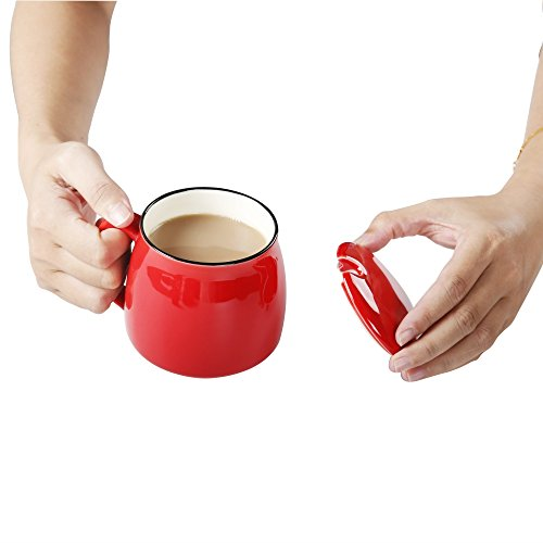 Coffee Cup Ceramic Travel Mug with Lid, 12 oz (Red)