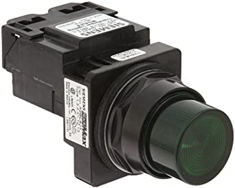 Siemens 52BL4J3 Heavy Duty Pilot Indicator Light, Water and Oil Tight, Plastic Lens, Transformer, 755 Type Lamp or 6V LED, Green, 480VAC Voltage