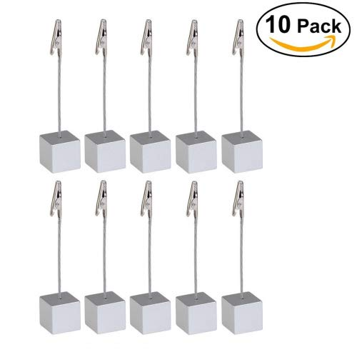 NUOLUX Memo Clip Holder Stand with Alligator Clasp for Pictures Card Paper Note Clip 10pcs (Silver)