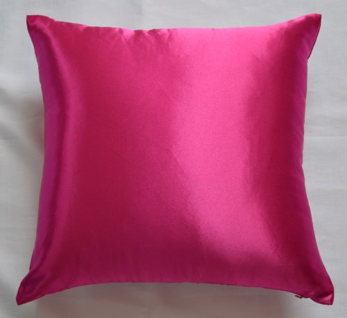 Creative Colorful Shiny Satin Euro Sham / Pillow Cover 24 by 24 - Hot Pink