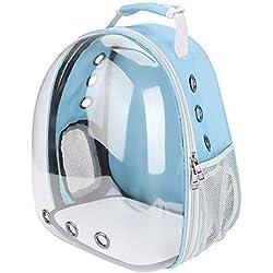 Mumusuki Mascota Gato Mochila C¨¢psula Espacio Burbuja C¨²pula Portador Jaula Transparente Transpirable Bolsa de Transporte Port¨¢Til 1Pc (Azul)