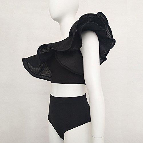 Highdas Conjunto De Dos Piezas Rayas Ruffles Mujer Bodysuit One Hombro Rompers Party Beachwear Negro