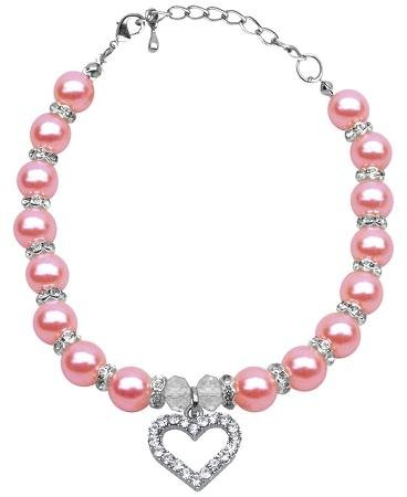 Mirage Pet Products 6 to 8-Inch Heart and Pearl Necklace, Small, Rose