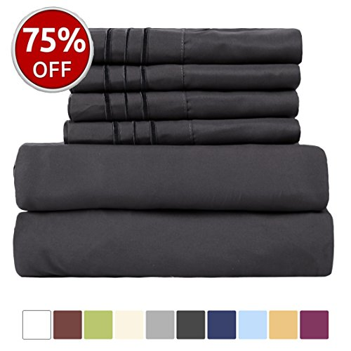 EASELAND 6-Pieces 1800 Thread Count Microfiber Bed Sheet Set-Wrinkle & Fade Resistant,Deep Pocket,Hypoallergenic Bedding set,Queen,Dark Grey